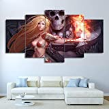 GANFANREN Decorative Pictures Painting Spray Canvas 5 Pieces Game Mage Sexy Girl Skull Fire Beauty – Anime Canvas Wall Picture Furniture Art Deco-100 * 55cm-Framed