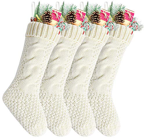 "Kunyida Pack 4,18"" Unique Ivory White Knit Christmas Stockings"