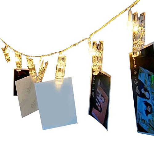 Metermall Nieuw LED Photo Clip String Lights with Battery Box Night Lamp Hanging Pendant Festivals Garden Party Yard Decoration 2.2 meters 20 LED warm white light