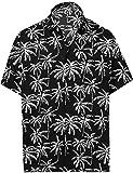 LA LEELA botón de la Camisa Hawaiana de los Hombres de Manga Corta hacia Abajo Palmera Impreso Aloha XL-Pecho Contorno (in cms):121-132 Halloween Negro_AA177