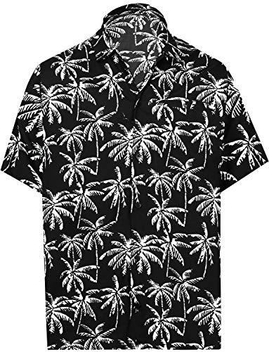 LA LEELA Hawaiian Hemd Beach Hemd Palme Herren-Hawaii-Hemd zuknöpfen Kragen Urlaub Partei beiläufig Aloha Arbeiten gedruckt 5XL Schwarz_Aa177