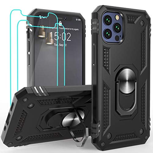 Case Designed for iPhone 12 Pro case/iPhone 12 case [6.1 inch] with Screen Protector Magnetic Ring Stand Kickstand Bumper Shockproof Armor Heavy Duty Military Grade Hard Phone Protective Case Black
