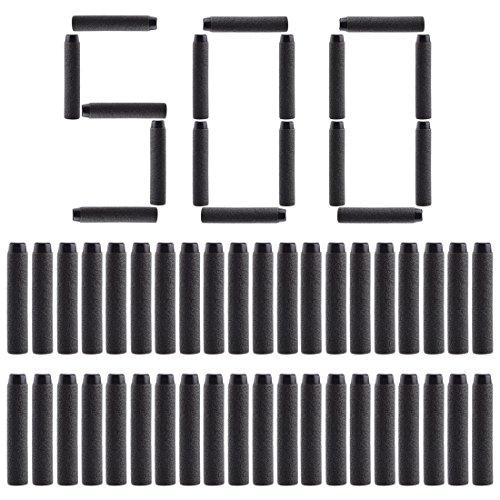 HYZH 500 Stück Foam Pfeile Patronen für Nerf N-Strike Elite Series Blasters Retaliator Schwarz