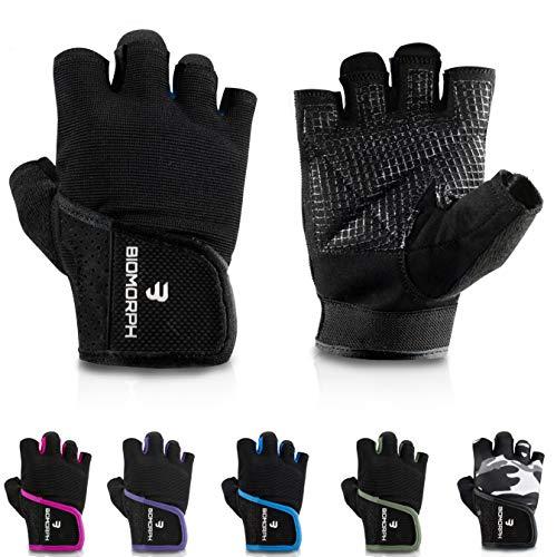 BIOMORPH Trainingshandschuhe für Damen und Herren I Fitness Handschuhe für Krafttraining, Bodybuilding, Crossfit (Schwarz, 21,5cm - 23,5cm - L)