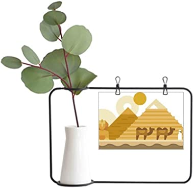 DIYthinker Egypt Yellow Green Sphinx Pyramids Camel Metal Picture Frame Ceramic Vase Decor