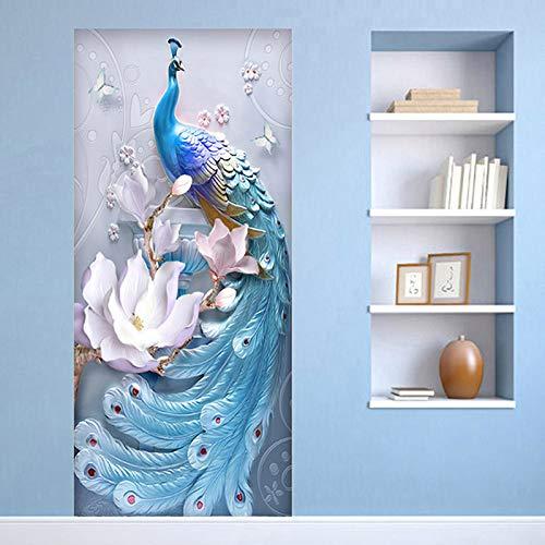 TMANQ Türtapete Selbstklebend Türposter - 77X200CM Schöne Blumen Des Blauen Pfaus - Fototapete Türfolie Poster Tapete 3D Wasserdichtes Abnehmbare Wohnzimmer Wandtattoos Vinyl Wandbild Wohnkultur