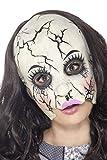 Smiffys Damen Rissige Puppe Latex Maske, One Size, Weiß, 45595