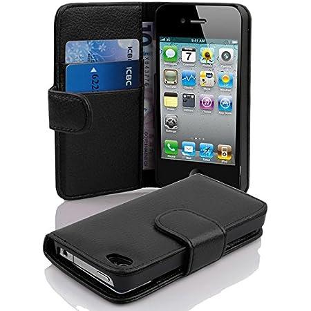 Cadorabo Coque pour Apple iPhone 4 / iPhone 4S en Noir DE Jais - Housse Protection en Similicuir Structuré avec Stand Horizontal et Fente Carte - ...