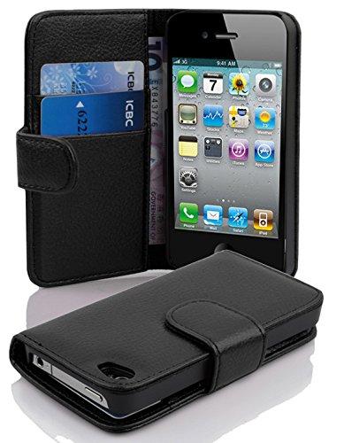Cadorabo Hülle für Apple iPhone 4 / iPhone 4S in Oxid SCHWARZ – Handyhülle aus Strukturiertem Kunstleder mit Standfunktion und Kartenfach – Case Cover Schutzhülle Etui Tasche Book Klapp Style