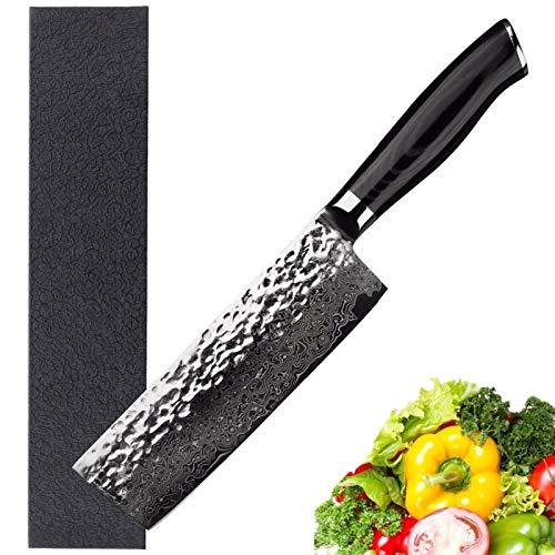 Nakiri acero Usuba japonesa Damasco 6,5 pulgadas cuchillos de carnicero vegetal Mikata Mango Cuchillo de chef (Size : 6.5 inch)