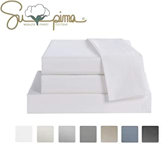 Jiajia Home Textile Bed Sheet Set Queen Size Sheets 4 Pieces, 600 Thread Count 100% Supima Cotton Sheets, Sateen Weave, Fits Mattress Up to 18