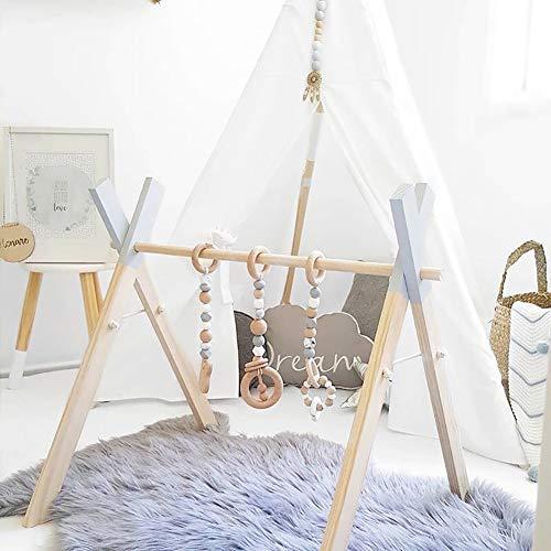 WHFY Arco de madera regulable en altura para bebés, entrenador de fitness plegable de madera con 3 colgantes para el gimnasio, incluye para mejorar el agarre y la coordinación (colgante aleatorio)