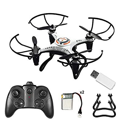 Volbaby Drone for Kids, 6-Axis Gyro 2.4Ghz Mini Drone with Led Night Light and Headless Mode 3D Flips Remote Control Drone for Boys Girls, 2 Batteries from Volbaby