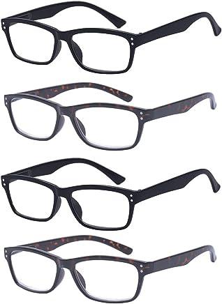 ALWAYSUV Reading Glasses 4 Pair Spring Hinge Professer Readers for Men and Women Fashion Glasses for Reading 1.0