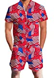 AIDEAONE Rompers for Men 3D Funny Printed USA Flag Jumpsuit One Piece Outfits Zipper Overalls for July 4th Party Celebration XXL Red