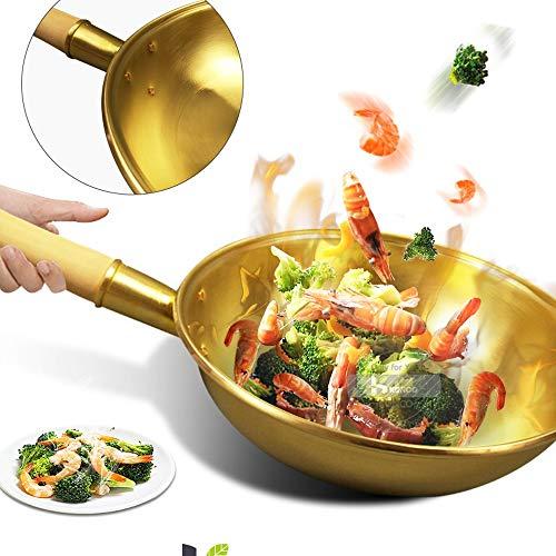 SHYPT Pan de cobre puro Olla de cobre Wok Sartén de latón Sartén Utensilios de cocina Wok Cocina de cobre