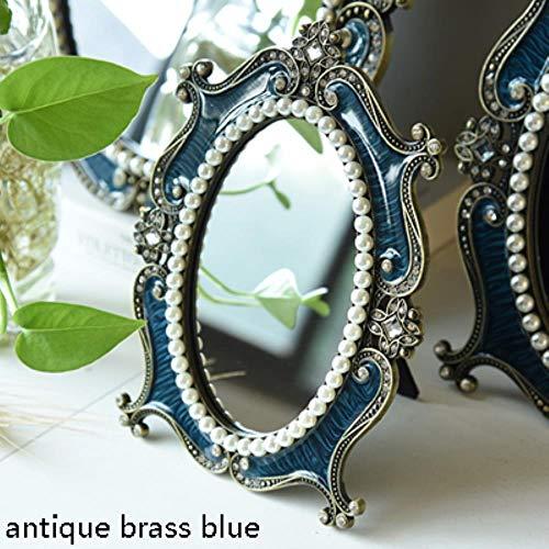 WYCYZJ Antiek Messing BlauwOvaal Metaal Ingelijste Tafel Spiegel Europees Home Decor Zilver Wit Stand Jeweled Make-up Spiegel, antiek messing blauw