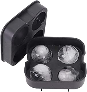 Alselo Ice Cube Trays Silicone Ice Ball Maker Mold Food-grade BPA Free Flexible Durable and Reusable Ice Tray with Spill-resistant Removable Lid and Funnel (black)