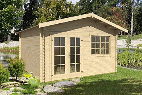 Lasita Maja Gartenhaus Aktion 21 mit Doppeltür und Doppelfenster I Wandstärke 40 mm