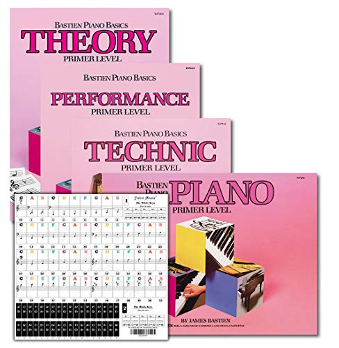 Bastien Piano Basics Primer Level Learning Set By Bastien - Lesson, Theory, Performance, Technique & Artistry Books & Juliet Music Piano Keys 88/61/54/49 Full Set Removable Sticker