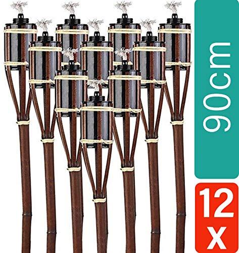 12 Gartenfackeln aus Bambus Braun - Nachfüllbar - Lange Brenndauer - 90 cm