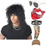 70s 80s 90s Men's Disco Halloween Rock Star Heavy Metal Wig Set Packet of 6 (Set-1)