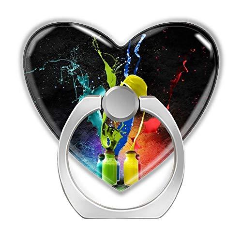 2 Pack SD Phone Ring Bracket Smart Mobile Phone Holder Self-Adhesive Colorful General Finger Ring Stand Love Heart Shaped Holder Mount Bracket Rotates 360° for Tablets Phone-3D Amazing Splash