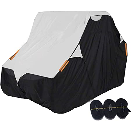 Coverify UTV Cover Black Deluxe Waterproof Oxford Material 114''x60''x75'' Utility Vehicle Storage Cover (Smaller 2-3 Passenger, Black & Silver)