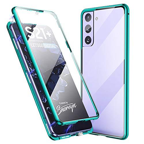 Jonwelsy Funda para Samsung Galaxy S21 Plus, 360 Grados Delantera y Trasera de Transparente Vidrio Templado Case, Fuerte Tecnología Adsorción Magnética Metal Bumper Cubierta para S21+ (Verde)