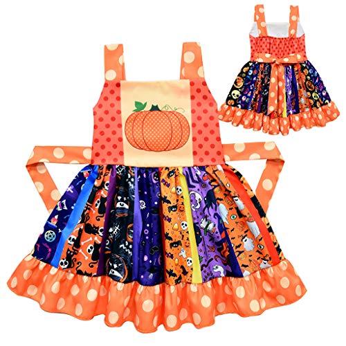 upxiang - Disfraz de Halloween para niños, falda de calabaza, impresión sin mangas, tirantes, para Halloween, fiesta temática, cosplay, disfraz para 3 – 7 años, 01-Naranja, 4 años