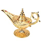 Hilitand Vintage Aladdin Magic Genie Lamp Gold Carved Oil Lamp Legend Wishing Oil Lamp Collectible Retro Tea Pot for Wedding Party Decor