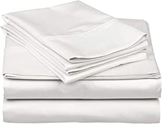 Blueberry Voyage Genuine Premium Egyptian Cotton 1000 Thread Count Italian Finish White 4-Piece Sheet Set, 15 inches Deep Pocket, Solid, Size King