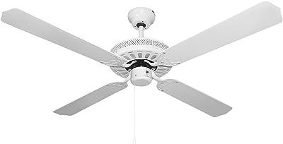 Orbegozo CF–Ventilateur de plafond sans lumière, 60W de puissance, 4pales réversibles diamètre 132cm et 3vitesses blanc