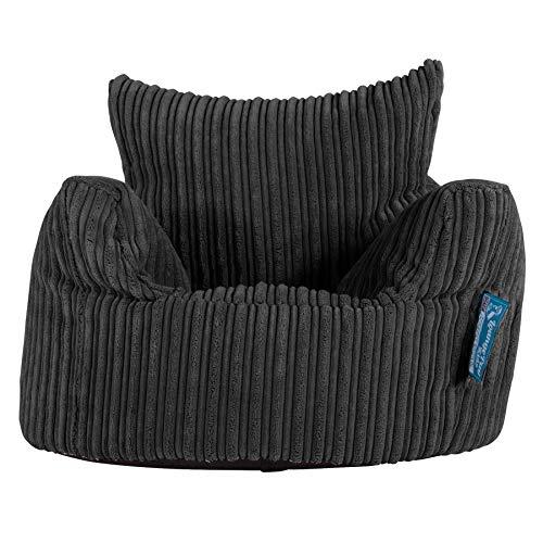 Lounge Pug®, Puff Sillón para niños, Pana Clásica - Negro