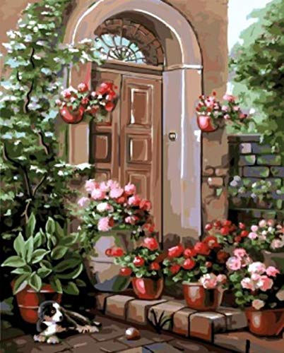 ZXJQH Paint by Numbers for Adults Beginner Flower Porch 16x20 Inch DIY Paint by Numbers,Premium Rolled Canvas (No Creases) | Acrylic Painting Home Wall Decor | Best Painting Gift for Friends