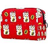 Bolsas de cosméticos para niña Bolsa de Maquillaje para Mujer Bolsa organizadora de artículos de tocador con Cremallera 7.3x3x5.1 Pulgadas Cute Japan Cartoon Lucky Neko Cats Fondo Rojo