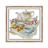 Sharplace Kit de Punto de Cruz Contado Estampado 14CT Diseño de Tetera, Taza de Cafe para Decoración Hogar Restaurante - 14CT, 29X29cm