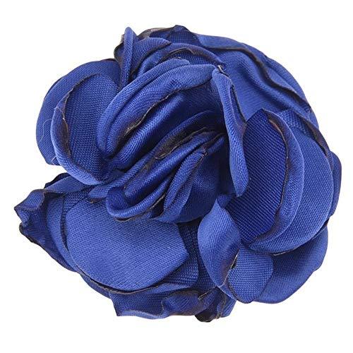 10 PCS Fleurs Accessoires De Cheveux Satin Fleur Artificielle Rose Fleur Mignon Tissu Fleurs Pas De Pince à Cheveux pour Bandeau, Royal Blue