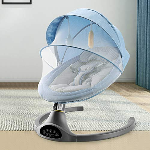 Heay Electric Baby Rockers and Bouncers,Comfort Swing Chair for Newborn Infant Baby with Soothing Music and Canopy Toys, Automatic Cradle Bed with Remote Control (Color : Blue)