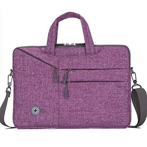 YOUPECK 13.3 Inch Laptop Sleeve Case Messenger Shoulder Bag Padded Nylon Shockproof Waterproof Briefcase for MacBook Air/Pro Retina, 2018 MacBook Pro 13/ Surface Pro/Notebook, Purple