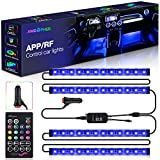 AMBOTHER Interior Car Lights APP LED Strip Light Atmosphere Upgrade Two-Line Design 4PCS IR Control Box Waterproof Multicolor Music Under Dash 48 LEDs Strip Lighting for Car with Car Charger, 12volt