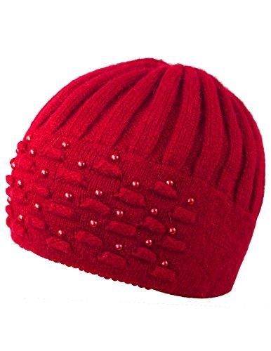 Dahlia Women's Skullies & Beanies - Angora Wool Beanie Hat with Pearl, Red