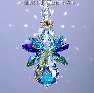 Swarovski Crystal Suncatcher OriginalPEACOCK Colors Angel Made with Rare Vintage Aurora Borealis Body and Wings Lilli Heart Designs