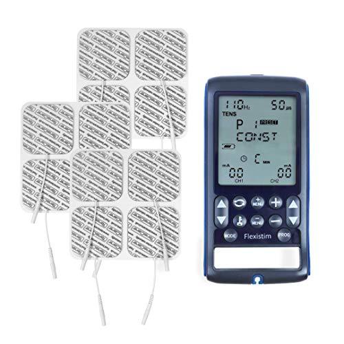 TensCare Flexistim& 12 electrodos - Electroestimulador Completo con 4 terapias: EMS, Tens, Ift y Microcorriente. Dispositivo pequeño Pero potente, con mas de 50 programas