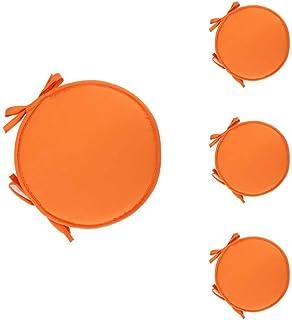 Monbedos 4 cojines de asiento para interior redondo, cojín acolchado para silla, sofá, color naranja