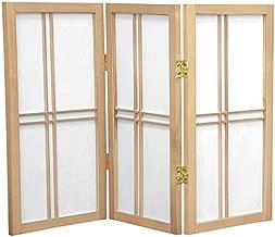 Oriental Furniture 2 ft. Tall Desktop Double Cross Shoji Screen - Natural - 3 Panels