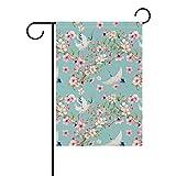 DragonSwordlinsu COOSUN - Gru ad acquerello con fiori in poliestere, bandiera da giardino,...