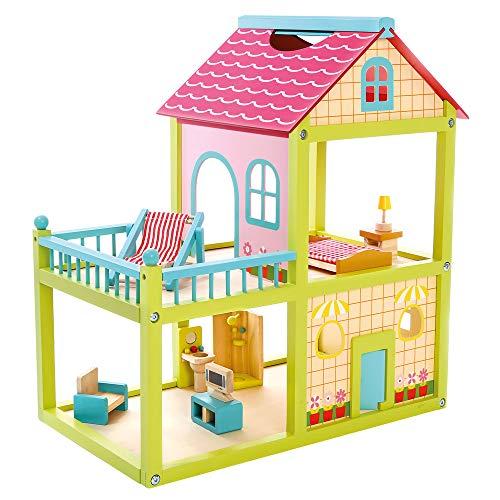 Bino 83556 - großes Puppenhaus aus Holz, Geschosshöhe ca. 28 cm, 41 Teile, Mehrfarbig mit 2 Spielebenen 1 Balkon. Für Kinder im Alter ab 36 Monaten EIN Spielvergnügen. Größe ca. 55,5x30,2x50 cm.