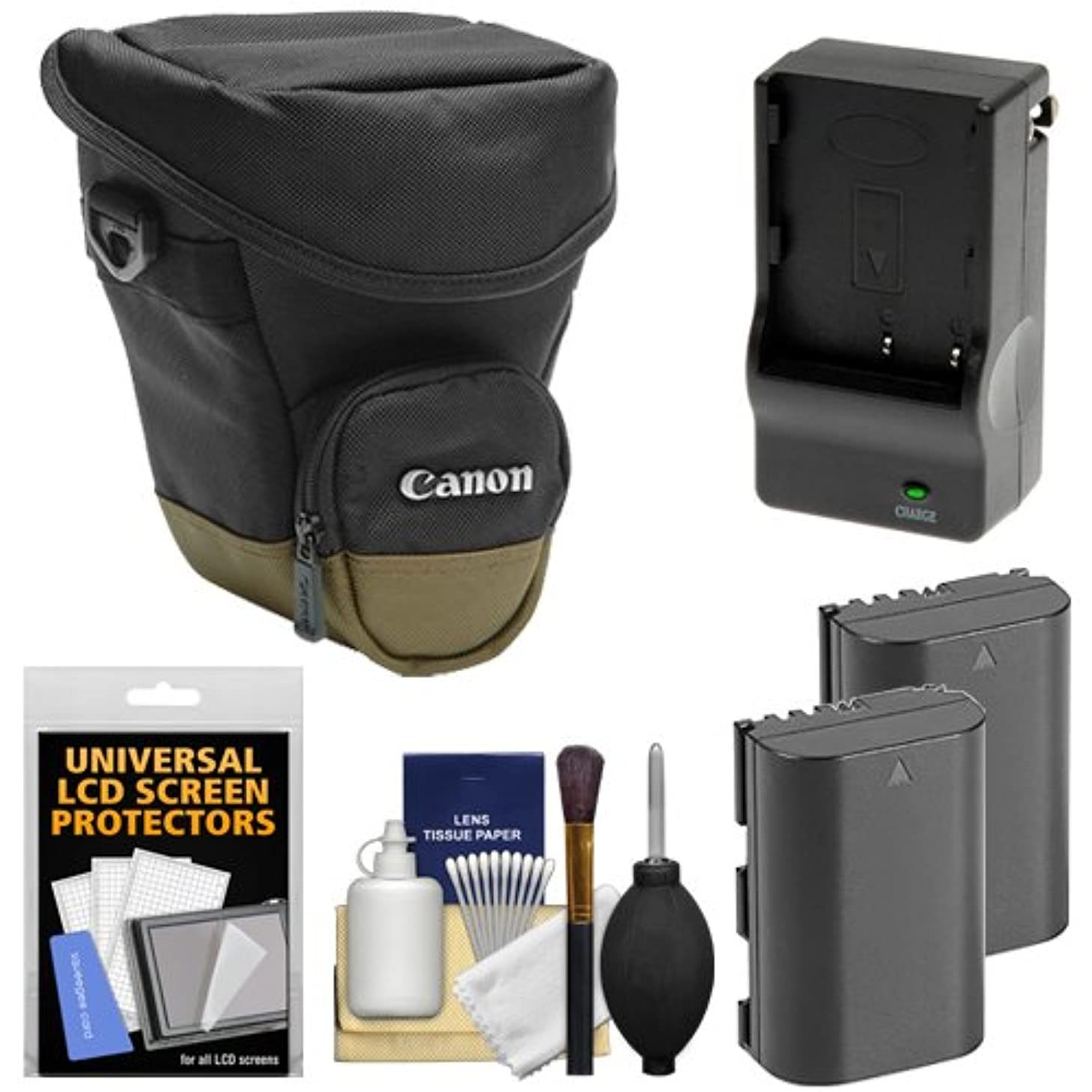 Canon Zoom Pack 1000 Digital SLR Camera Holster Case with (2) LP-E6 Batteries + Charger + Accessory Kit for EOS 6D, 7D, 70D, 5D Mark II III