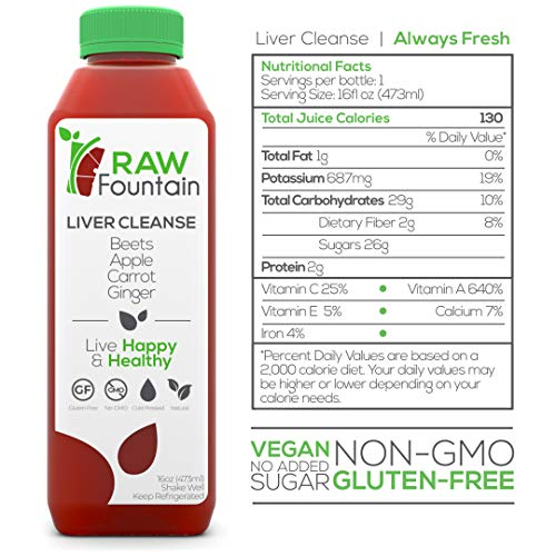 Raw Fountain 7 Day Juice Cleanse, All Natural Raw, Cold Pressed Fruit and Vegetable Juice, Detox Cleanse Weight Loss, 42 Bottle 16oz, 7 Ginger Shots 4